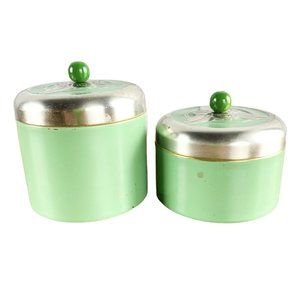 2 Each Anthropologie Green Silver Toiletry Tins